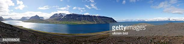 Panoramic View across Alftafjord Sudavik Westfjords Iceland Europe