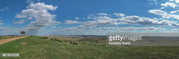 panoramic view along sage creek road, badlands national park, south dakota - great plains stock pictures, royalty-free photos & images