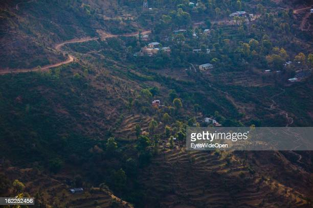 Panoramic view and landscape in the morning on the mountains on December 01 2012 in Dharamsala India
