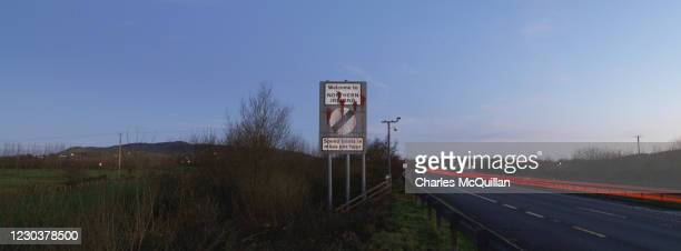Panoramic view as cross border traffic enters Northern Ireland as dawn breaks on January 1, 2021 in Newry, United Kingdom. January 1st 2021 marks the...