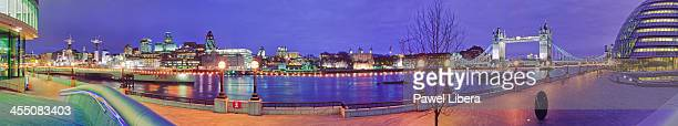 Panoramic view at night on City of London and Tower Bridge