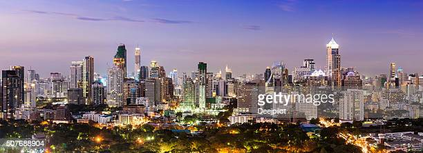 Panoramic View at Sunset of the Bangkok City Skyline Thailand