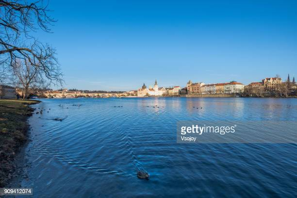 panoramic view at the rivershore, prague, czech republic - vsojoy stock pictures, royalty-free photos & images