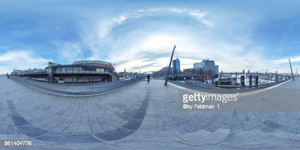 360° panoramic view Baumwall, Hamburg Hafen, Germany