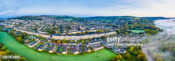 panoramic view by drone over bath, somerset, england, united kingdom, europe - gavin hellier stock pictures, royalty-free photos & images