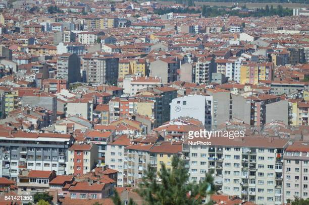 A panoramic view can be seen from the Selale Park in the historic Odunpazari district of Eskisehir Turkey on August 31 2017