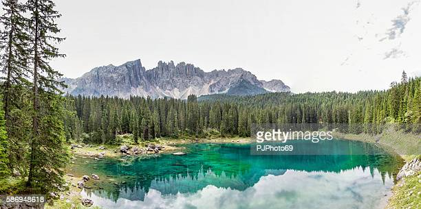 panoramic view carezza lake  - trentino alto adige - italy - pjphoto69 stock pictures, royalty-free photos & images