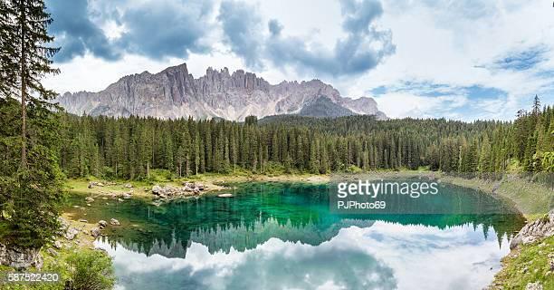 Panoramic view Carezza Lake  - Trentino Alto Adige - Italy