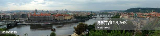 panoramic view cityscape of prague from letensky profil viewpoint - profil stock photos and pictures