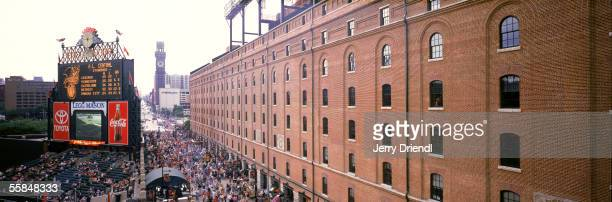 Panoramic view Eutaw Street walkway located between the Baltimore Ohio Warehouse and Oriole Park at Camden Yards stadium as the Baltimore Orioles...
