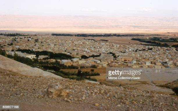 Panoramic view facing southeast of Jericho West Bank Israel as seen from Mount Quarantania known as the Mount of Temptation November 1967