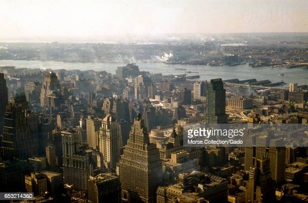 Panoramic view facing southwest of the neighborhoods of Times Square Hells Kitchen Chelsea and the west side of Manhattan in New York City New York...