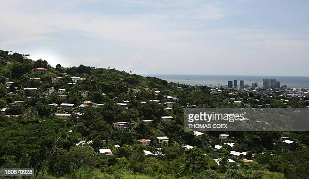 Panoramic view from a hill of downtown Port of Spain capital of the island of Trinidad and Tobago on October 15 2008 AFP PHOTO / THOMAS COEX