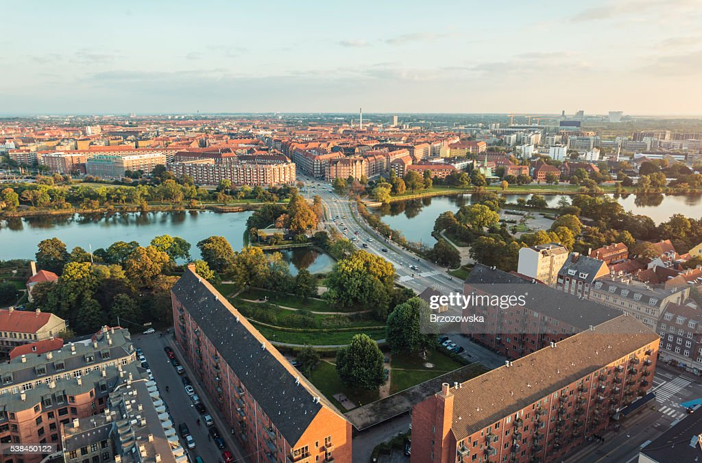 Panoramic view from center of Copenhagen toward Amager, Denmark : Stock Photo