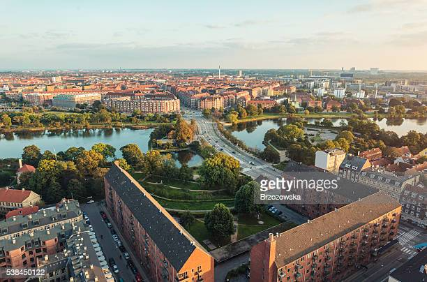 panoramic view from center of copenhagen toward amager, denmark - copenhagen stock pictures, royalty-free photos & images