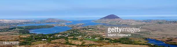 Panoramic view from Diamond Hill over Letterfrack and Ballynakill Harbour, Connemara National Park, County Galway, Republic of Ireland, Europe