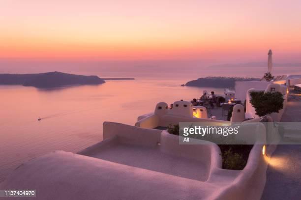 panoramic view from imerovigli, santorini, greece - culture méditerranéenne photos et images de collection
