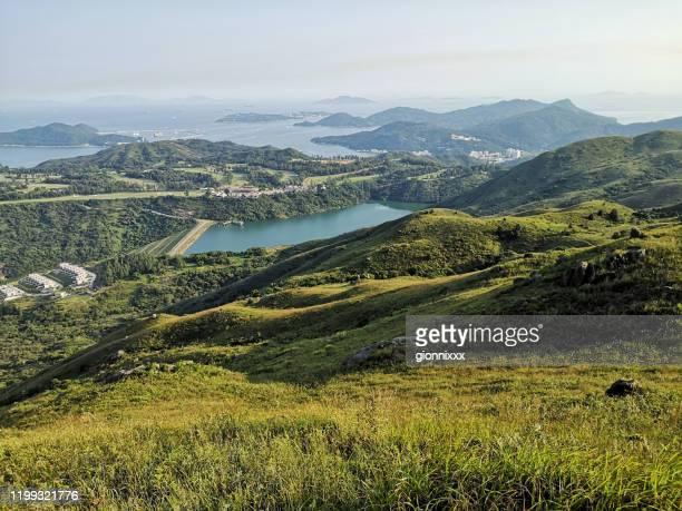 panoramic view from lo fu tau country trail, lantau, hong kong - paesaggio marino foto e immagini stock