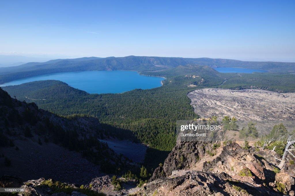 Panoramic view from Paulina Peak, Newberry National Volcanic Monument near Bend, Oregon : Stock Photo