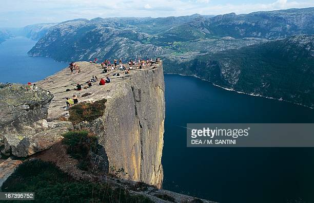 Panoramic view from Preikenstolen block of granite overlooking Lysefjord Rogaland Norway