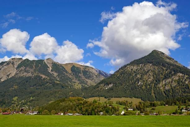 Panoramic view from the Loretto Meadows to the mountains near Oberstdorf, Rubihorn 1937m, Gaisalphorn 1953m, Nebelhorn 2224m and Schattenberg 1721m, Allgaeu Alps, Allgaeu, Bavaria, Germany