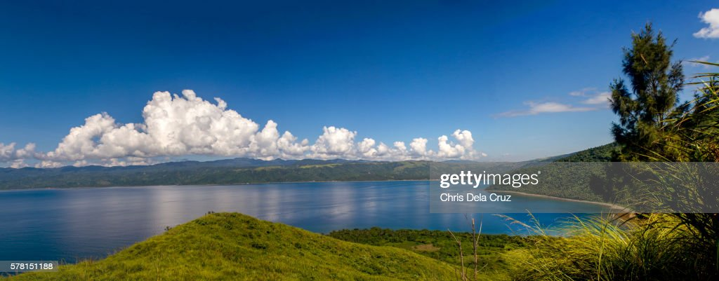 Panoramic view from the mountain in Dingalan : Stock Photo