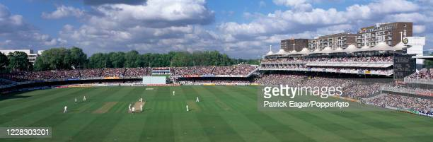 Panoramic view from the Pavilion towards the Nursery End as Shaun Udal of England bowls to Richie Richardson of West Indies during the 3rd Texaco...