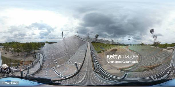 Panoramic view from the roof of the Olympic stadium on April 15 2017 in Munich Germany The Olympic Park Munich is an Olympic Park which was...