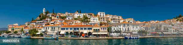 Panoramic view from the sea of Poros island in Aegean sea, Greece