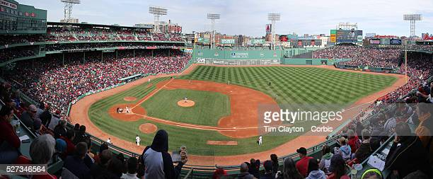 A panoramic view from the stands during the Boston Red Sox V Tampa Bay Rays Major League Baseball game on Jackie Robinson Day Fenway Park Boston...