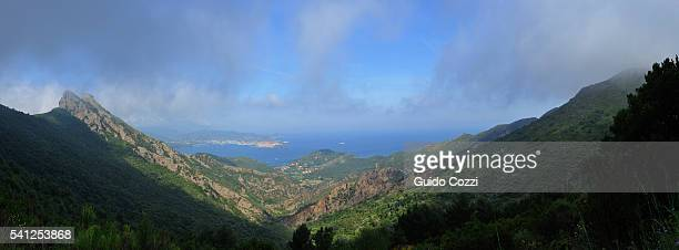 panoramic view from volterraio, isola d'elba, italy - isola delba foto e immagini stock
