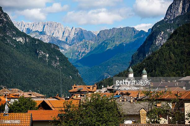 Panoramic view in the Dolomite Alps on July 15, 2012 in Agordo, Italy. Landscape and panoramic view.