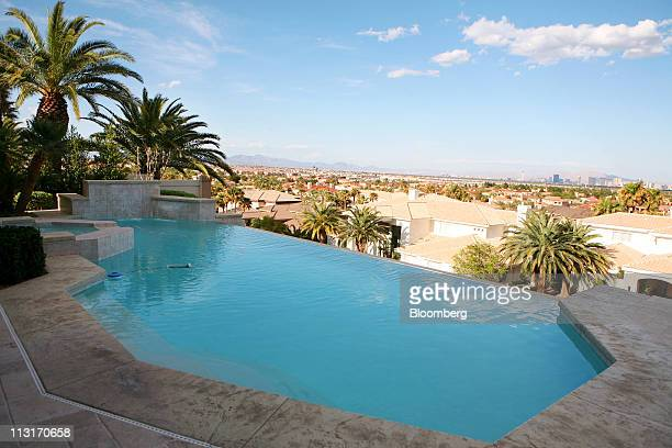 A panoramic view is seen from an infinity pool in the backyard of a luxury home previously owned by actor Nicolas Cage in Las Vegas Nevada US on...