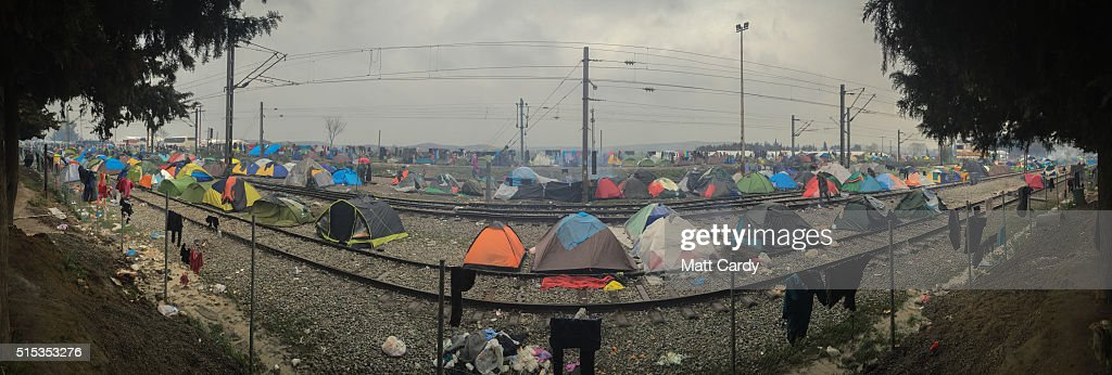 A panoramic view is seen of the Idomeni refugee camp on the Greek Macedonia border on March 12, 2016 in Idomeni, Greece. The decision by Macedonia to close its border to migrants on Wednesday has left thousands of people stranded at the Greek transit camp. The closure, following the lead taken by neighbouring countries, has effectively sealed the so-called western Balkan route, the main migration route that has been used by hundreds of thousands of migrants to reach countries in western Europe such as Germany. Humanitarian workers have described the conditions at the camp as desperate, which has been made much worse by recent bouts of heavy rain.