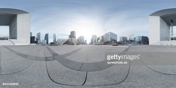 360° panoramic view la défense, paris - image stock-fotos und bilder
