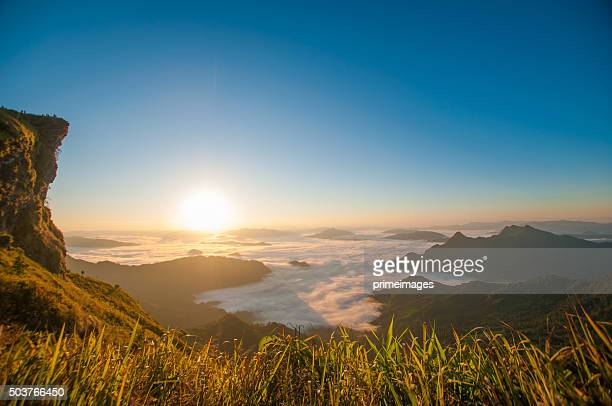 panoramic view misty morning sunrise in mountain at north thailand - primeimages stock pictures, royalty-free photos & images
