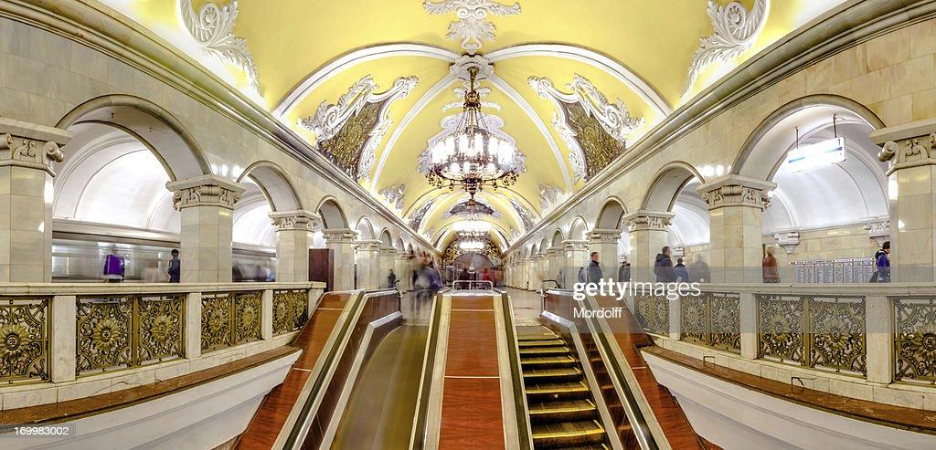 panoramic view moscow metro escalator stock photo getty