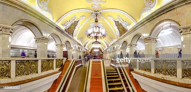 panoramic view - moscow metro escalator - moscow russia stock photos and pictures