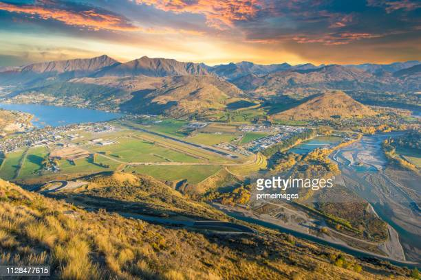 panoramic view nature landscape in queen town remarkable and arrowtown south island new zealand - otago region stock pictures, royalty-free photos & images