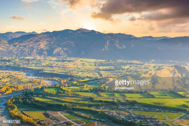 Panoramic view nature landscape in queen town remarkable and arrowtown south island New Zealand