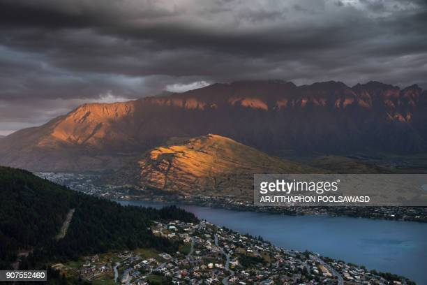 Panoramic view nature landscape in queenstown skyline south island New Zealand