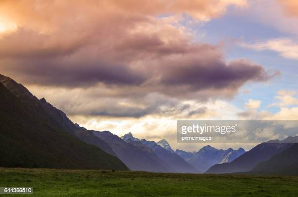 Panoramic view nature landscape in south island New Zealand