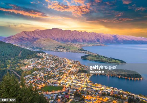 paisagem de natureza vista panorâmica da ilha sul, nova zelândia - wanaka - fotografias e filmes do acervo