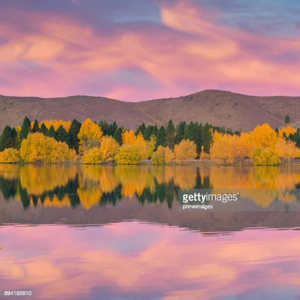 paisagem de natureza vista panorâmica da ilha sul, nova zelândia - lago wanaka - fotografias e filmes do acervo