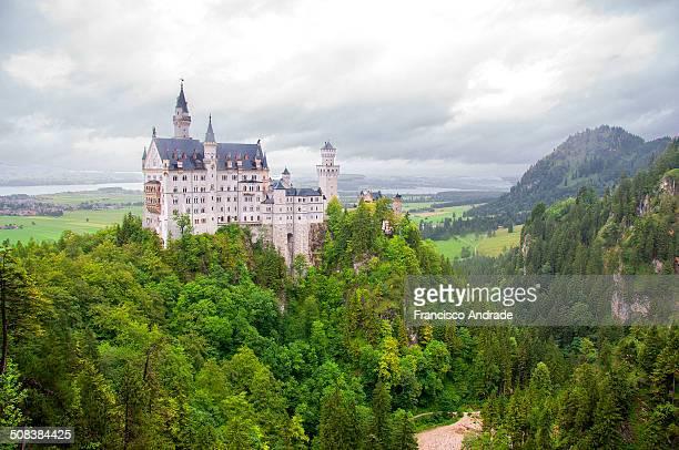 Panoramic view Neuschwanstein Castle near Füssen town and village of Schawangau. Bavaria Germany.