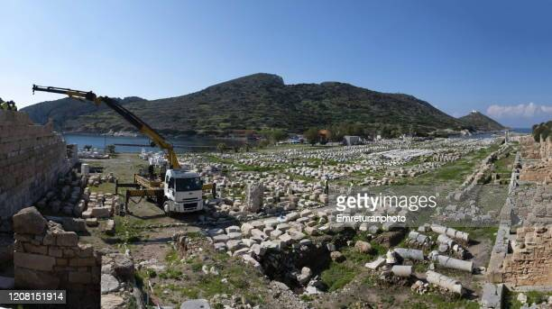 panoramic view od knidos ancient city on a sunny day,mugla province. - emreturanphoto stock pictures, royalty-free photos & images