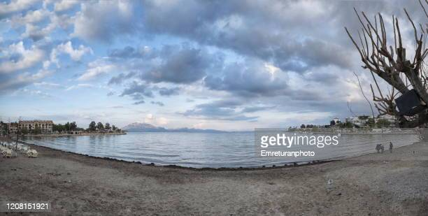 panoramic view od the beach on a cloudy day in datca center - emreturanphoto stock pictures, royalty-free photos & images