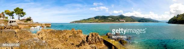 Vista panorámica od el estuario del río Oka. Mundaka, playa de Hondartza. País Vasco, provincia de Vizcayne, España