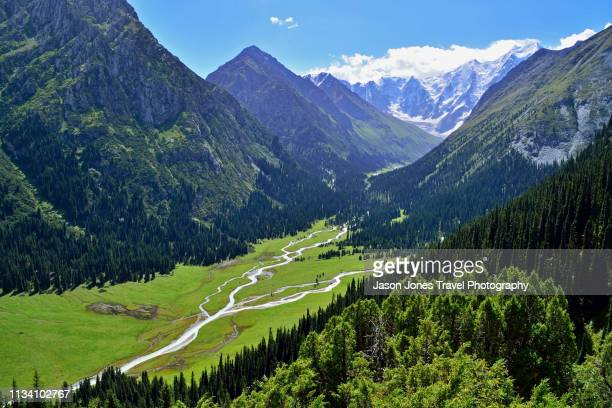 panoramic view of a beautiful valley in kyrgyzstan - tien shan mountains stock pictures, royalty-free photos & images