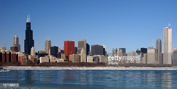 Panoramic view of a Chicago skyline.